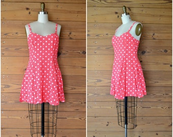 1990s peppy polka dot mini dress / hot pink tank dress / extra small xs