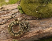 Compass Take the Road Less Traveled Necklace