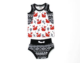 Baby Tank Top and Shorts Set - Baby Boy Outfit  - Baby Shorts - Shorties - Bloomers - Baby Tank Top Shirt - Foxes