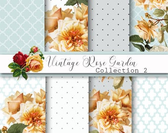 Digital Papers, Vintage Rose Papers, Shabby chic, Damask Papers, Wedding Paper, Romance Papers, scrapbooking paper, decoupage, card making,