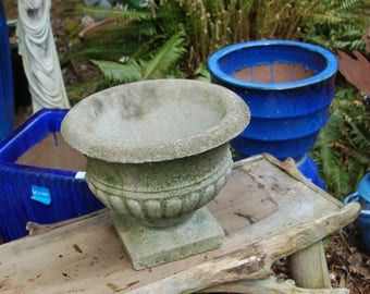 Beautiful Old Fabulous Weathered Antique / Vintage Cement Fluted Pedestal Urn / Planter ~ Lovely Garden Decor ~ Entryway ~ 3rd of 3