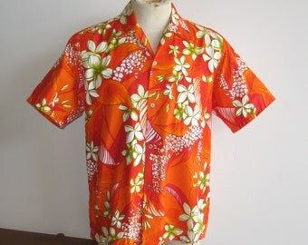 Vintage 50s 60s Tropical Plumeria Print Orange Cotton Aloha Hawaiian Shirt size L - XL