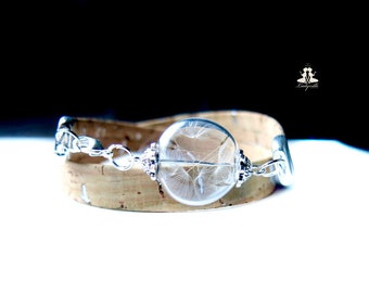Sustainable Eco friendly cork bracelet with real dandelions