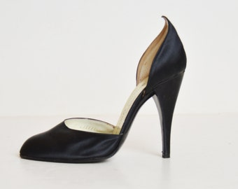 Vintage 80s Charles Jourdan d'Orsay Pumps Black Satin High Heel Shoes 6.5