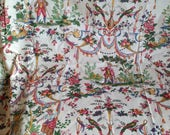Vintage French Fabric / Floral Silk Cotton Fabric, Toile de Jouy Style, Home Decor, Huge Panel 300 cm x 230cm / Home Furnishings