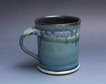 Pottery coffee mug, ceramic mug, stoneware tea cup navy blue 16 oz 3870