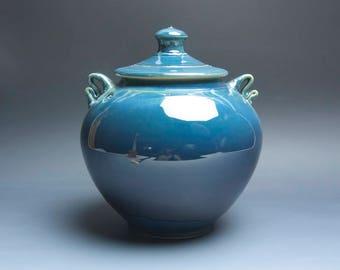 Handmade pottery cookie kitchen storage jar dark to light blue 3978
