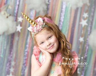 Legend - pink gold aqua tulle satin flower metallic unicorn horn ears headband bow