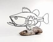 Bass Wire Sculpture, Fish Wire Art, Minimal Design Art, Wire Folk Art, 466277010