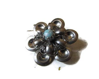 SALE-Vintage Silver Tone and Turquoise Bead Brooch-Free Shipping in The USA