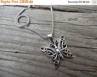 ON SALE Butterfly necklace, cast and antiqued in sterling silver