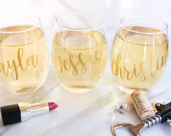 Personalized Wine Glass - Wedding - Bridal Shower Wine Glass - Bridal Party - Wine Glasses - Wine Glasses for Friends - Girls Night In -Gift