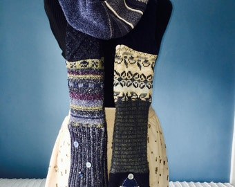 Super Scarf - Long Patchwork Scarf - navy blue - muff - skinny scarf - sweater scarf - upcycled sweater scarf