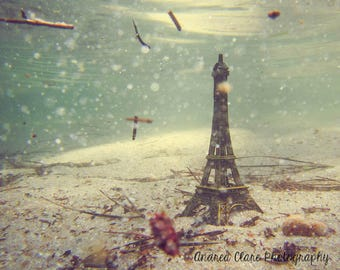 Eiffel Tower Photograph, Fine art photography, Underwater, Surreal, Architecture, Photo, Print, Ocean, France, French, Wall decor, home, art