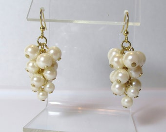 Pearl Cluster Earring, Long Pearl Dangle Earring, Pearl Earring, Pearl Dangle, Ivory Pearl Cluster, Dangle, Wedding, Bride, Bridesmaid, Gold