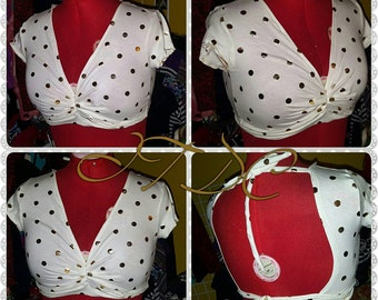 Polka Dot Short sleeve Choli size M/L