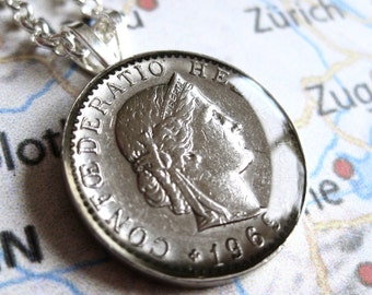 1969 Swiss Switzerland 20 Centimes Coin Silver Pendant Necklace