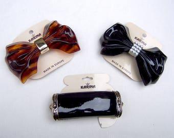 3 vintage Karina hair accessories barrettes hair combs 1980s bows theme hair slide hair clip hair ornament (AAT)