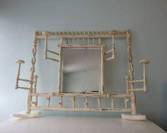 Hat Rack Beveled Mirror, Stick and Ball Eastlake Aesthetic Movement Derby Hat Rack, Extendable Spindles, Antique Beveled Glass Mirror, Oak
