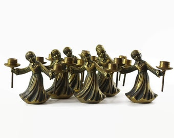 Vintage Brass Candle Holders, Small Brass Candle Holders, Brass Girl Candleholder