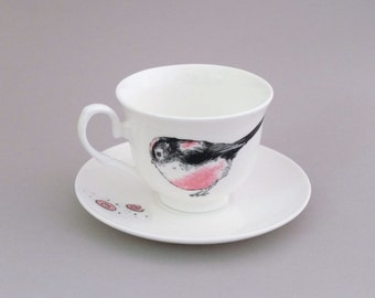 Long Tailed Tit & Party Rings Tea Cup and Saucer