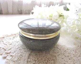Vintage Alabaster Trinket Box Jewelry Box from AllieEtCie