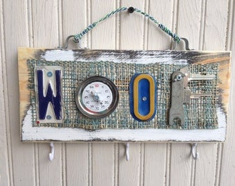 Handmade Salvaged Hardware Woof Sign//gift for dog lover//wall decor