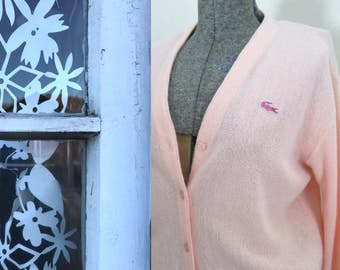 Pink Izod Lacoste Cardigan // 1960s Pastel Alligator Izod Sports Sweater