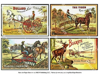 Antique Farm and Horse Trade Cards, Printed, Set of 4, Vintage Advertising, Farming Equipment, Homestead, Hay Rake, Ranch, Farm Plow, TCS3