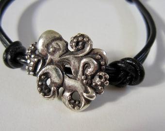 Octopus, Wrap Bracelet, Gift for Men, Gift for Women, Kraken, Unique, Ocean, Marine, Naval, Handmade, Silver