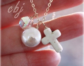 White Cross Necklace, Cross Pendant Necklace, 1st Communion Cross Necklace, Cross Charm, Religious jewelry, Custom Made jewelry