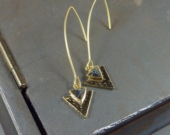 Long Gold and Black Earrings. 14k yellow gold plated. modern. delicate. simple. minimal.
