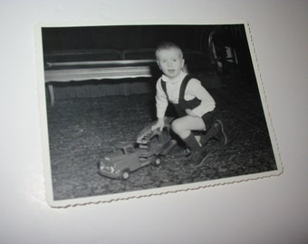 Vintage Photo Portrait Boy With Toy Fire Truck 1958 Toy Fire Truck Photograph Black And White Photo