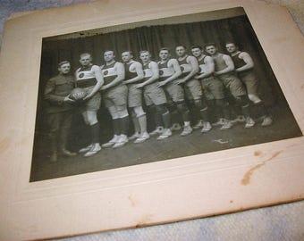Antique WW I Army Basketball Team Group Photo Quartermaster Corps Team Photograph 1918 Antique Army Sports Team Photograph World War I