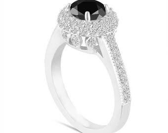 ON SALE Platinum Fancy Black Diamond Engagement Ring Double Halo 1.66 Carat Pave Certified Unique