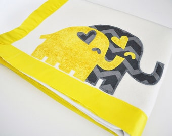 Organic Baby Blanket with Elephants -- Bright Yellow and Gray -- Free Personalization