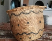 Vintage 1960s Handmade Hand Woven Basket Yanomami Indian Native Amazon Amazonian Tribe