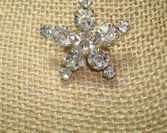 1980s Silvery Star Rhinestone Pin.