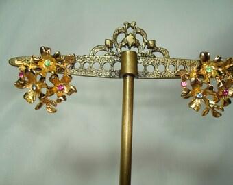 1980s Golden Jeweled Flower Earrings.
