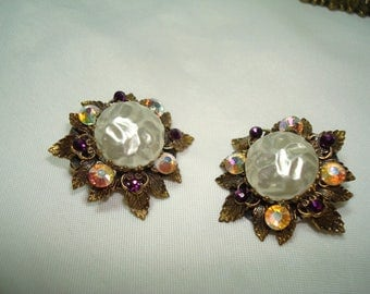 Vintage Antiqued Gold  Tone Pearl Like Cabochon Earrings .