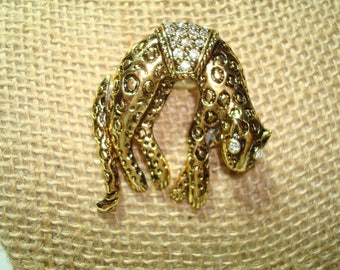 Vintage Cheetah Spotted Leopard Golden Rhinestone Pin.