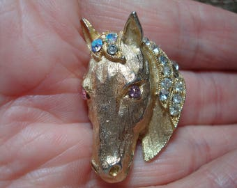 1960s Golden Horse Head Pin with Pink Jeweled Eyes and Sparkly Mane.