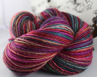 Handspun Yarn Gently Thick and Thin DK Single Blue Faced Leicester and Silk 'Gems'
