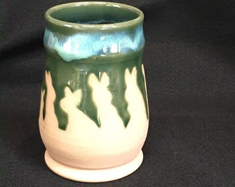 Watership Down inspired cup/vase, 16 ounces, flux over green glaze