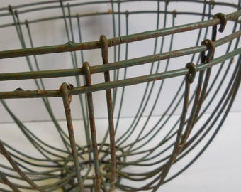 3 vintage Wire baskets  flower hanging planters green shabby French Country Garden Home