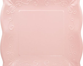 Embossed Scalloped Pastel Pink paper Plate 10 inch - set of 8