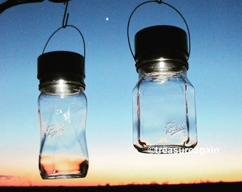 Sharing & Spiral Mason Jar Solar Lights, Outdoor Gardening, Ball Elite Collection, Choice of 2 Mason Jars