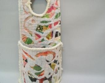 Handmade mix media Wall Pocket, Mix Media Door Knob Organizer, Wall Organizer, Useful Art, Small Wall Basket, Quilted  Paper Cloth Art,