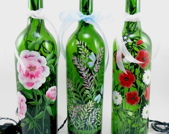 Lighted Wine Bottle Flowers MADE TO ORDER Hand Painted 750 ml
