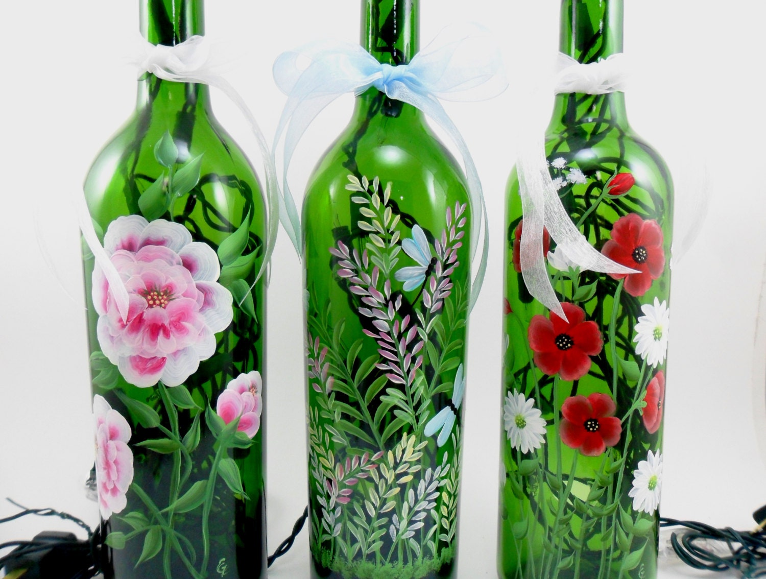 Lighted wine bottle flowers made to order hand painted 750 ml for Painting flowers on wine bottles